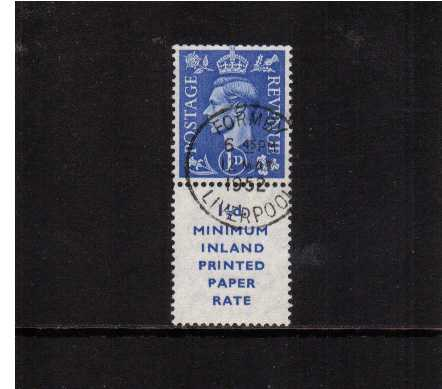 view larger image for SG 504 (1951) - 1d Light Ultramarine upright watermark booklet marginal single with printed advert label 17mm high superb fine used cancelled with an upright LIVERPOOL CDS dated 12 May 1952. Superb!