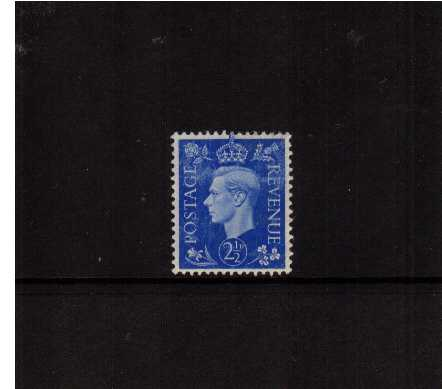 view larger image for SG 466var (1937) - 2�d Ultramarine. A lightly mounted mint single showing a mottled print across the top of the stamp.