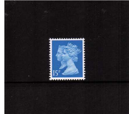 view larger image for SG 1467 (10 Jan 1990) - 15p Bright Blue - Harrison - Photogravure<br/>Perforation 15x14 - Centre Band