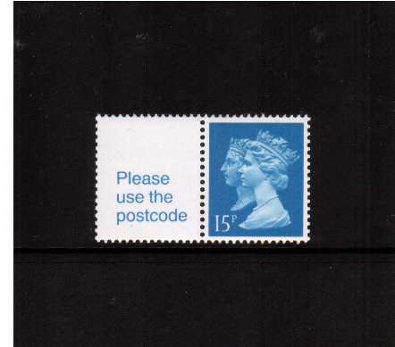 view larger image for SG 1468 (30 Jan 1990) - 15p Bright Blue - Harrison - Photogravure<br/>Perforation 15x14 - Left Band