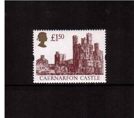 view larger image for SG 1612R (1994) - �1.50 Maroon & Gold 'Gold Head' Castle - Printed by Harrison but Re-Engraved resulting in minute design changes and deep richer colours oddly not listed by SG!