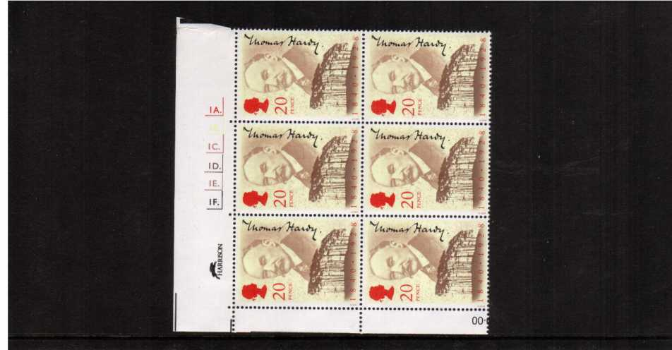 view larger image for SG 1506 (1990) - Thomas Hardy single in a superb unmounted mint cylinder block of six