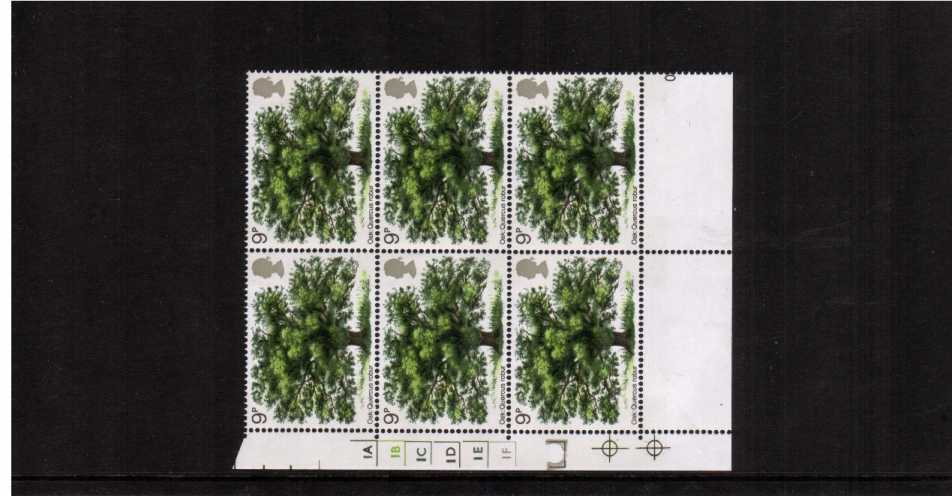 view larger image for SG 922 (1973) - 9p Tree in a superb unmounted mint cylinder block of six
