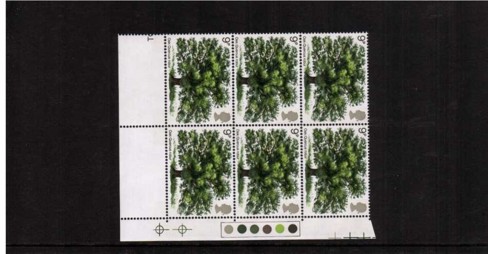 view larger image for SG 922 (1972) - 9p Tree in a superb unmounted mint 'Traffic Lights' block of six