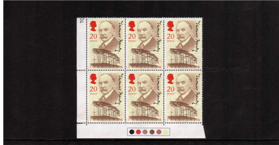 view larger image for SG 1506 (1990) - Thomas Hardy single in a superb unmounted mint 'Traffic Lights' block of six