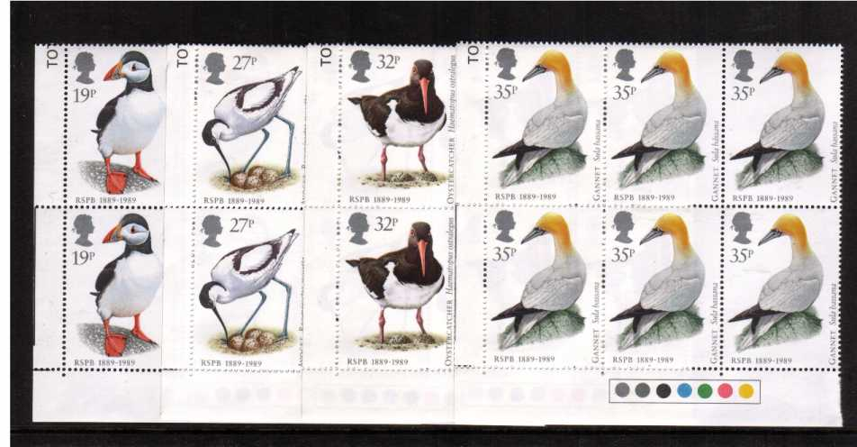 view larger image for SG 1419-1422 (1989) - Birds set of four in superb unmounted mint 'Traffic Lights' blocks of six