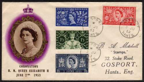 view larger back view image for Coronation set of four on illustrated FDC with cancelled with three GOSPORT - HANTS steel CDS's with handstamp address.