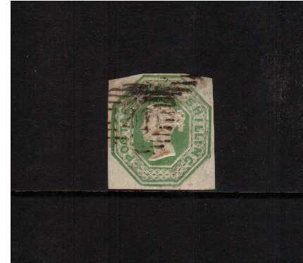 view larger image for SG 55 (1847) - Embossed - 1/- Green - Die 2<br> A good used stamp with good margins. SG Cat �1050