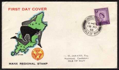 view larger back view image for ISLE of MAN - 3d Deep Lilac on a colour illustrated handstamped  addressed cover cancelled with a  CASTLETOWN - ISLE OF MAN steel CDS dated 18 AU 58. Superb!
