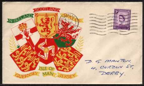 view larger back view image for ISLE of MAN - 3d Deep Lilac on a illustrated hand addressed cover cancelled with a CASTLETOWN - ISLE OF MAN steel CDS dated 18 AU 58.