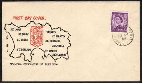 view larger back view image for JERSEY - 3d Deep Lilac on an uaddressed colour illustrated FDC cancelled with a steel CDS for JERSEY CHANNEL ISLANDS dated 18 AU 58.