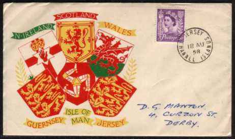 view larger back view image for JERSEY - 3d Deep Lilac on a colour illustrated FDC with neat hand written address  cancelled with a steel CDS for JERSEY CHANNEL ISLANDS dated 18 AU 58.