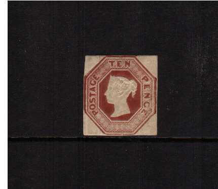view larger image for SG 57 (1848) - Embossed - 10d Brown Die 3. A attractive stamp with four square margins with a small thin but large part original gum. SG Cat �6000