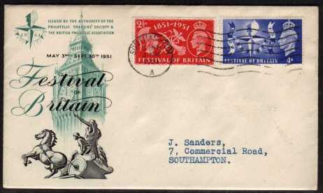 view larger back view image for 	Festival of Britain set of two on illustrated FDC with typed address cancelled with a SOUTHAMPTON wavy line.