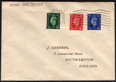 view larger back view image for �d Green, 1d Red and 2�d Ultramarine on plain but neat printed address envelope cancelled with a neat SOUTHAMPTON wavy line.