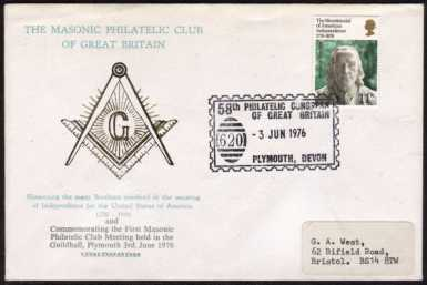 view larger front view of image for 11p American Independence stamp on MASONIC PHILATELIC CLUB of GB cover with PHILATELIC CONGRESS of GB cancel