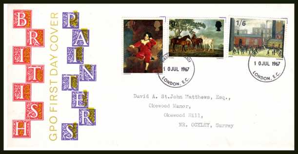 view larger back view image for British Paintings set of three on illustrated official GPO colour FDC cancelled with two LONDON FDI handstamps dated 10 JUL 1967