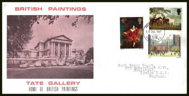 view larger back view image for British Paintings set of three on illustrated TATE GALLERY design on possibly official  FDC with neat typed address cancelled with a LONDON E.C. FDI dated 10 JUL 1967. A very rare cachet.