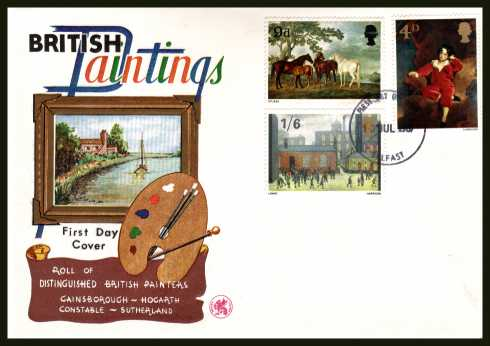 view larger back view image for British Paintings set of three on illustrated UNADDRESSED WESSEX colour FDC cancelled with a BELFAST FDI dated 10 JUL 1967