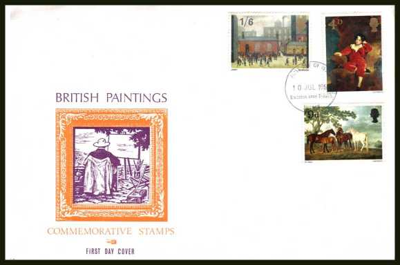 view larger back view image for British Paintings set of three on illustrated OVERSIZE (very scarce version) PHILART colour FDC cancelled with KINGSTON UPON THAMES FDI  handstamp dated 10 JUL 1967