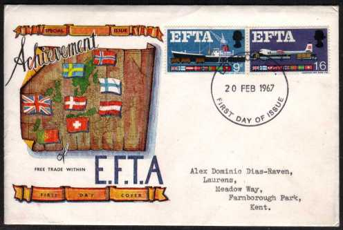 view larger back view image for EFTA (European Free Trade Association) <b>PHOSPHOR</b> on CONNOISSEUR typed address illustrated colour FDC cancelled with  LONDON E.C. handstamp dated 20 FEB 1967