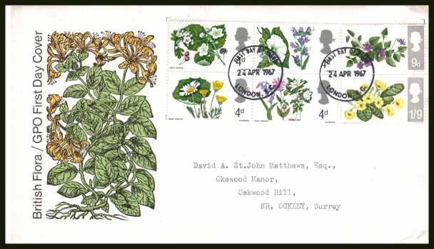 view larger back view image for British Wild Flowers set of six on official GPO illustrated colour FDC with typed address cancelled with two LONDON E.C. FDI's dated 24 APR 1967.