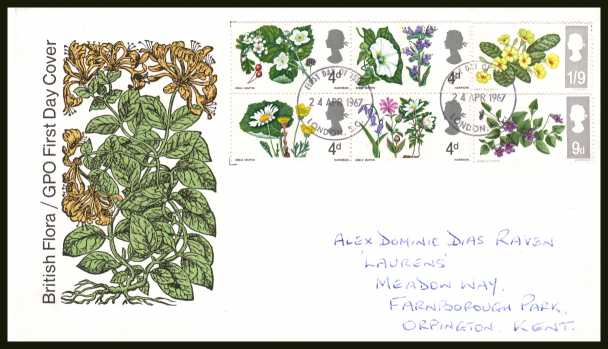 view larger back view image for British Wild Flowers <b>PHOSPHOR</b> set of six on official GPO illustrated colour FDC with hanwritten address cancelled with two LONDON E.C. FDI's dated 24 APR 1967.