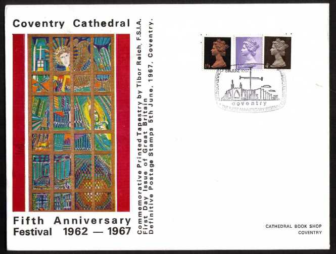 view larger back view image for Machin - 4d, 1/- and 1/9d on OFFICIAL Coventry Cathedral colour FDC UNADDRESSED cancelled with special COVENTRY CATHEDRAL handstamp and only sold at the CATHEDRAL BOOK SHOP. Note additional inscriptions above and below picture. A rare cover.