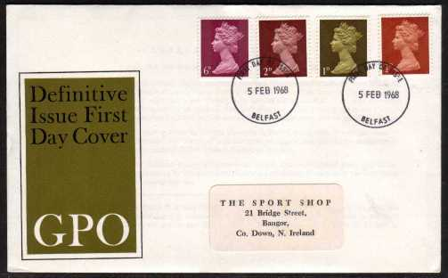 view larger back view image for Machin - �d 1d 2d 6d on illustrated official GPO FDC with address label  cancelled with two BELFAST FDI's dated 5 FEB 1968