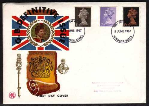 view larger back view image for Machin - 4d 1/- 1/9d on WESSEX colour illustraled FDC with handstamp address  cancelled two strikes of  the WINDSOR - BERKS FDI dated 5 JUNE 1967