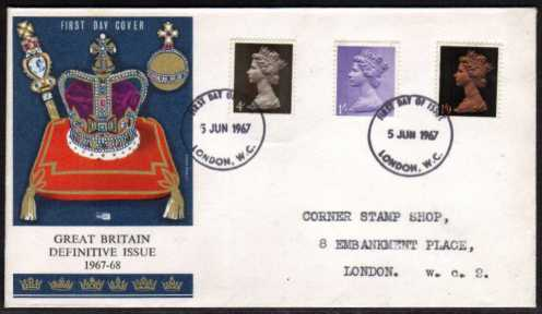 view larger back view image for Machin - 4d 1/- 1/9d on illustrated PHILART with typed address colour FDC cancelled with two strikes of the LONDON W.C. FDI dated 5 JUN 1967