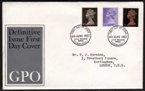 view larger back view image for Machin - 4d 1/- 1/9d on a neatly typed official GPO illustrated FDC cancelled with two strikes of PHILATELIC BUREAU - EDINBURGH FDI's dated 5 JUNE 1967