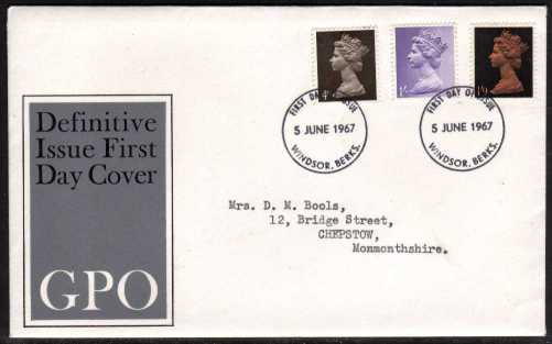 view larger back view image for Machin - 4d 1/- 1/9d on official GPO illustrated FDC with typed address cancelled with two strikes of WINDSOR - BERKS FDI's  5 JUNE 1967.