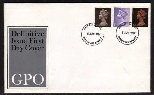 view larger back view image for Machin - 4d 1/- 1/9d on official GPO illustrated FDC cancelled with two strikes of HARROW & WEMBLEY FDI's dated 5 JUN 1967