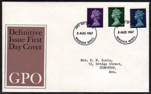 view larger back view image for Machin - 3d 9d 1/6d on official GPO with typed address illustrated FDC cancelled with two strikes of WINDSOR - BERKS  FDI's dated 8 AUG 1967.