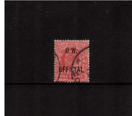view larger image for SG O37 (1902) - 1d Scarlet overprinted 'O.W. OFFICIAL' superb fine used. SG Cat �160