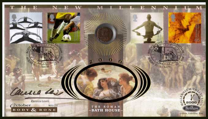 view larger back view image for Millennium Series - Body & Bone - Benham coin cover containing genuine ancient Roman Copper/Bronze coin at lest 1600 years old!! Autographed by CARENZA LEWIS from Channel 4 TV 'TIME TEAM' series. With BENHAM guarantee certificate - only 4000 produced.