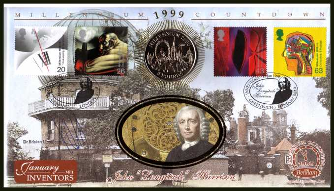 view larger back view image for Millennium Series - Inventors' Tale - Benham coin cover containing GIBRALTAR �5. Autographed by Dr KRISTEN LIPPINCOTT of the ROTAL OBSERVATORY - GREENWICH. With BENHAM guarantee certificate - only 4000 produced.