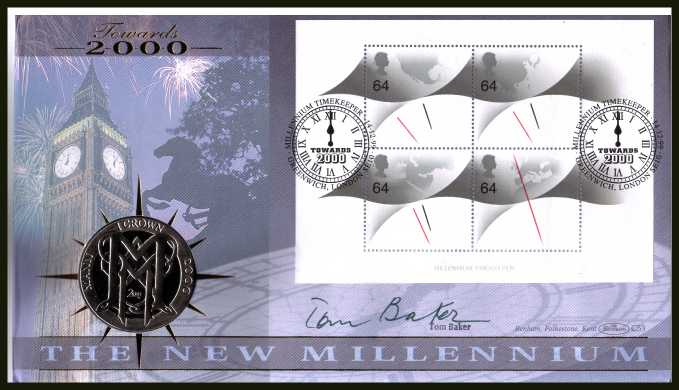 view larger back view image for 'Millennium Timekeeper' Minisheet - Benham coin cover containing ISLE OF MAN Crown coin. Autographed by the best 'TIME LORD' from the BBC Television series 'DR WHO' by the actor TOM BAKER.  With BENHAM guarantee certificate - only 4000 produced.