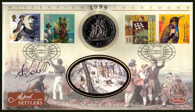 view larger back view image for Millennium Series - Settlers' Tale - Benham coin cover containing $1 LIBERIA coin. Autographed by the TV legend ALAN WICKER.  With BENHAM guarantee certificate - only 4000 produced.