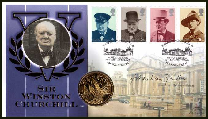 view larger back view image for Churchill set of four from 1974 on Benham commemorative cover for 125th Birth Anniversary of Churchill. Autographed by SEBASTIAN FAULKS who wrote and presented 'CHURCHILL'S SECRET ARMY'. Containing Gold effect 'medal' . With BENHAM guarantee certificate