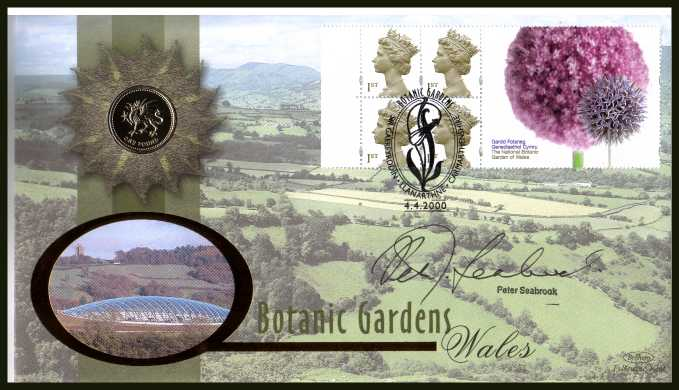 view larger back view image for Batanic Gardens booklet pane.  Benham coin cover containing Great Britain �1.Autographed by the horticulturist and TV personality PETER SEABROOK . With BENHAM guarantee certificate - only 4000 produced.