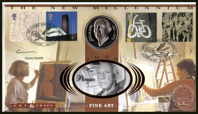 view larger back view image for Millennium Series - Art & Craft - Benham coin cover containing Spanish Picasso coin. Autographed by CHARLES SAATCHI. With BENHAM guarantee certificate - only 4000 produced.