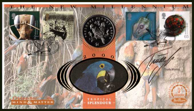 view larger back view image for Millennium Series - Mind & Matter - Benham coin cover containing $1 Liberian coin. Autographed by BBC TV vet TRUDE MOSTUE. With BENHAM guarantee certificate - only 4000 produced.