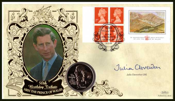 view larger back view image for Prince of Wales 50th Birthday booklet pane  - Benham coin cover containing GIBRALTAR  �5 commemorative coin autographed by JULIA CLEVERDON CBE Chief Executive of Business in the Community (Prince of Wales is President). With BENHAM guarantee certificate -