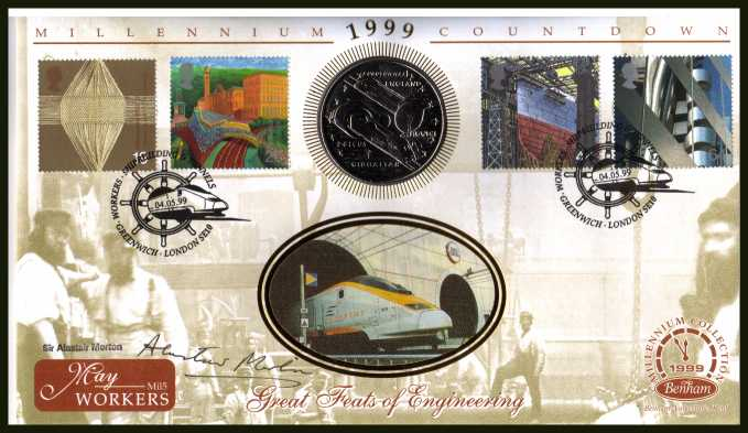 view larger back view image for Millennium Series - Workers' Tale - Benham coin cover containing a GIBRALTAR Crown coin featuring EUROSTAR TRAIN autographed by SIR ALASTAIR MORTON 1938-2004  (who I personally knew) Chairman of EUROTUNNEL. With BENHAM guarantee certificate - only 4000 p