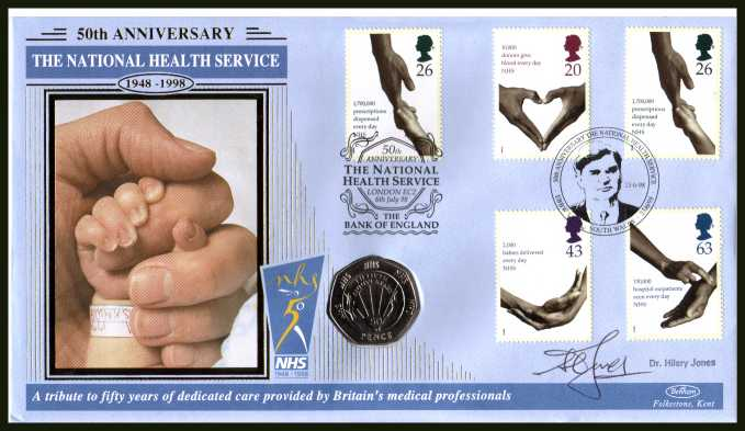 view larger back view image for National Health Service - Benham coin cover containing GB 50p coin featuring the NHS autographed by TV's DR HILARY JONES . With BENHAM guarantee certificate - only 2500 produced.