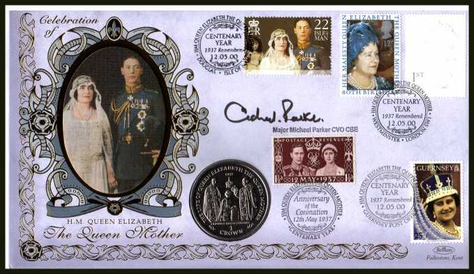 view larger back view image for 80th Birthday of Queen Mother together with several other stamps to commemorate Queen Mothers Birthday and Coronation day -  Benham coin cover containing GIBRALTAR Coin coin autographed by MAJOR MICHAEL PARKER CVO CBE who has produced countless Royal Occa