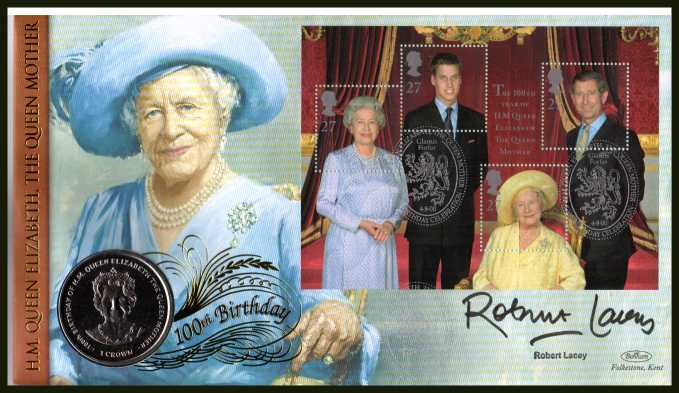 view larger back view image for Queen Mother Minisheet - Benham coin cover containing GIBRALTAR Crown coin autographed by ROBERT LACEY  Britain's foremost Royal biographer. With BENHAM guarantee certificate - only 1000 produced.