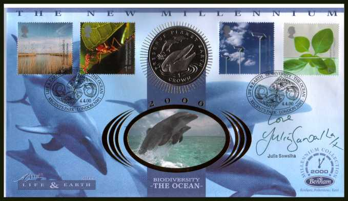 view larger back view image for Millennium Series - Life & Earth - Benham coin cover containing GIBRALTAR crown coin autographed by actress JULIA SAWALHA. With BENHAM guarantee certificate - only 4000 produced.
